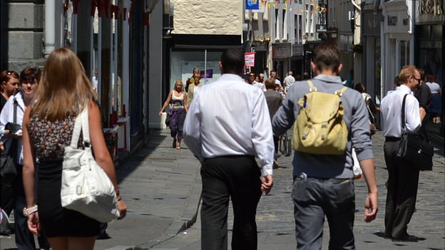 People walking in Guernsey's St Peter Port High Street