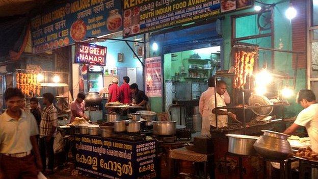 Rows of kebab street stalls