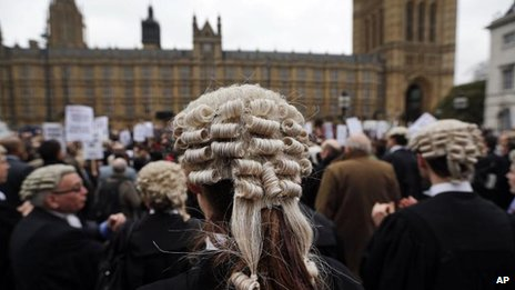 Barristers protesting outside the House of Commons against legal aid cuts on 7 March 2014