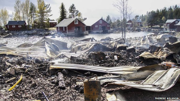 Scene of fire at a warehouse contained fermenting fish in Sweden