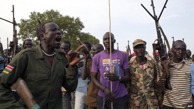 Members of an anti-government militia in Nasir - 14 April 2014
