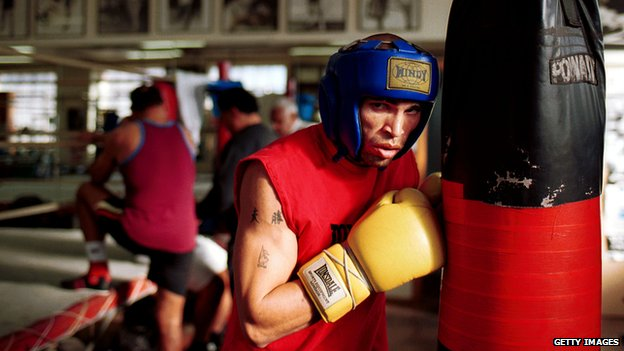 Anthony Mundine pictured in his gym in 2000