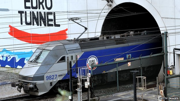 A train leaves the French end of the tunnel