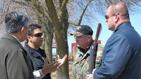 Amar Kaleka talks to gun owners