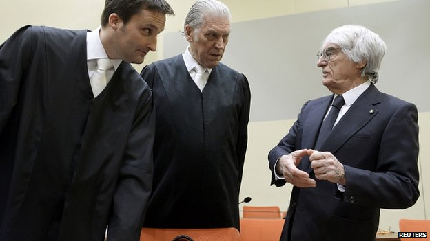 Bernie Ecclestone (right) with lawyers Norbert Scharf and Sven Thomas