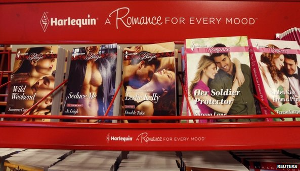 Harlequin books on a rack