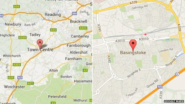 "Google maps image showing ""Town Centre"" and ""Basingstoke"""