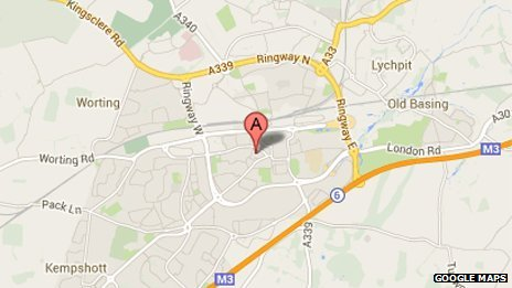 Google Maps showing no marking for Basingstoke