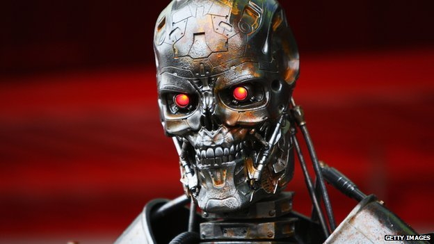 The metallic skull and shoulders of a robot from the movie The Terminator