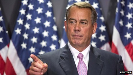 US House Speaker John Boehner appeared on Capitol Hill in Washington DC on 29 April 2014