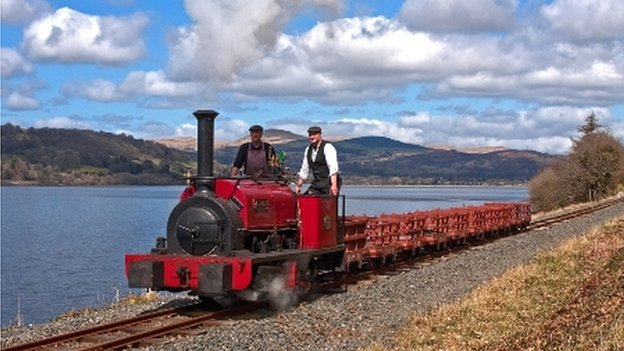 Steam engine on Bala Lake Railway