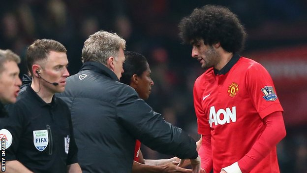 Marouane Fellaini and David Moyes