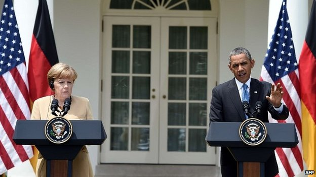 US President Barack Obama and German Chancellor Angela Merkel hold a press conference at the White House - 2 May 2014