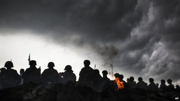 Ukrainian soldiers in Andreevka, 2 May