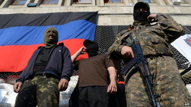 Pro-Russian activists in Sloviansk, 3 May