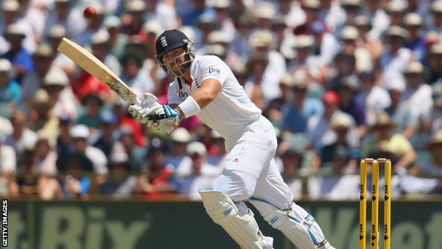 England's Matt Prior in action against Australia
