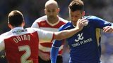 Leicester City's David Nugent (right) and Doncaster Rovers' Paul Quinn battle for the ball
