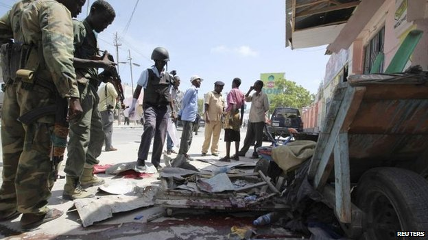 Blast site in Mogadishu, Somalia, 3 May