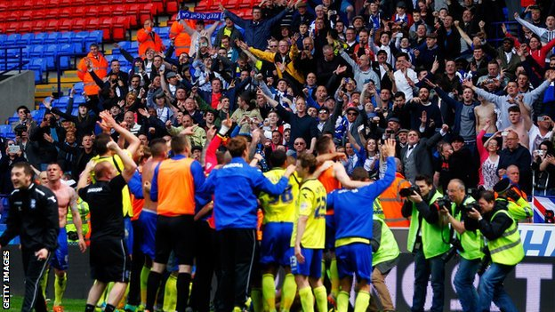 Birmingham players and fans celebrate at ensuring Championship survival