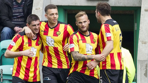 Partick Thistle celebrate Kris Doolan's early goal