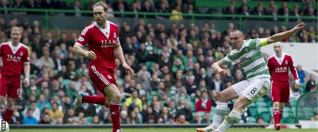 Scott Brown scores for Celtic against Aberdeen