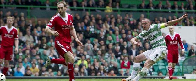 Scott Brown scores for Celtic against Aberdeen