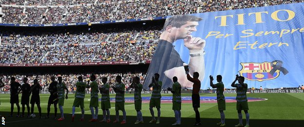 Nou Camp tributes to Tito Vilanova
