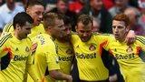 Sunderland celebrate Seb Larsson's goal