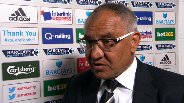 "Felix Magath says he is ""very sad"" and apologises to the fans after his side are relegated from the Premier League following their 4-1 defeat by Stoke."