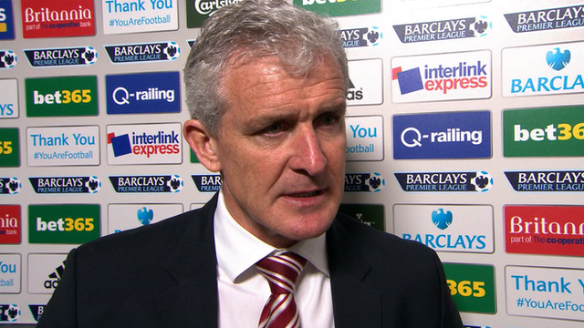 "Mark Hughes is delighted by his side's ""excellent"" performance after they thrash Fulham 4-1 at Britannia Stadium."