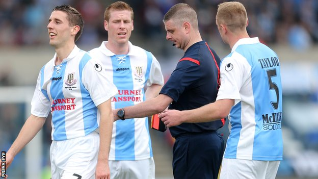 Gary Thompson of Ballymena is sent-off during the Irish Cup final