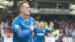 Dean Shiels celebrates after scoring for Rangers against Dunfermline