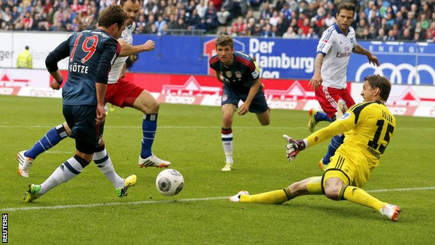 Bayern Munich's Mario Gotze scores against Hamburg