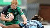 Josh Navidi tackles Connacht's Darragh Leader