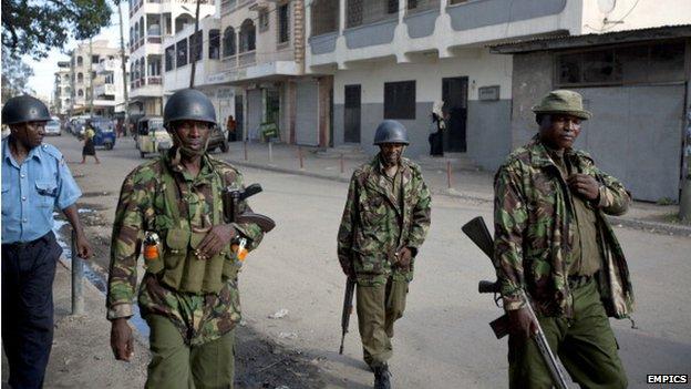 Police on patrol in Mombasa (5 April)