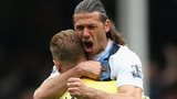 Martin Demichelis and Joe Hart celebrate victory over Everton