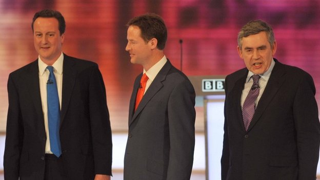 Still from televised leaders debate before the 2010 election