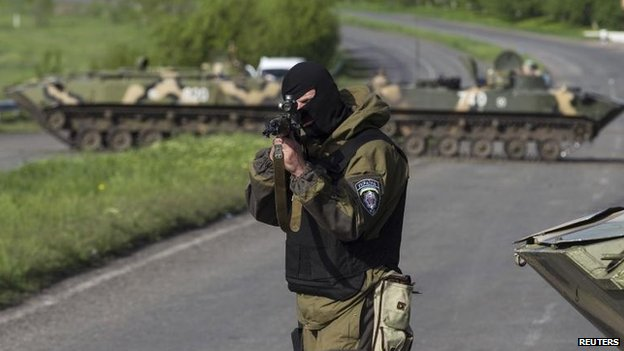 Ukrainian troops outside Sloviansk, 3 May