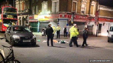 Scene of the crash in Kingsland Road