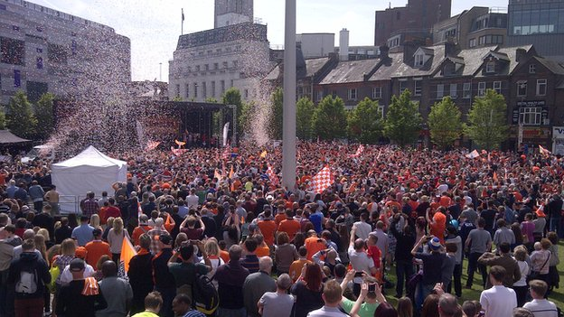 Luton Town fans in St George's Square