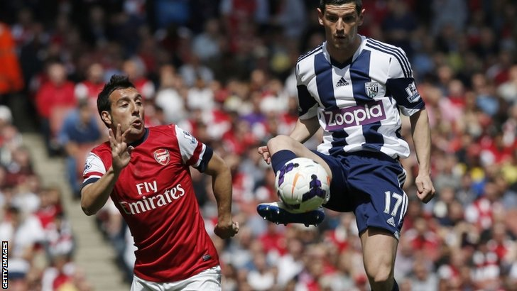 Arsenal's Santi Cazorla (left) and West Brom's Graham Dorrans