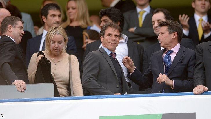Gianfranco Zola (second from right) and Sebastian Coe (right) at Stamford Bridge