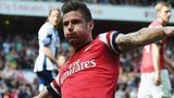 Arsenal striker Olivier Giroud celebrates scoring against West Brom