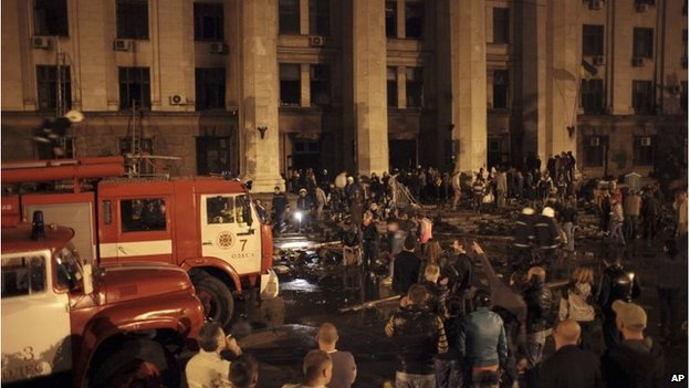 Aftermath of fire at trade union building in Odessa (2 May 2014)