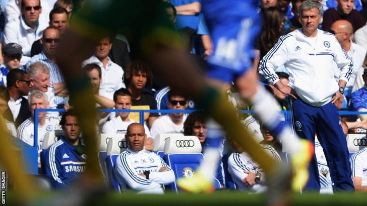 Jose Mourinho watches his team in action