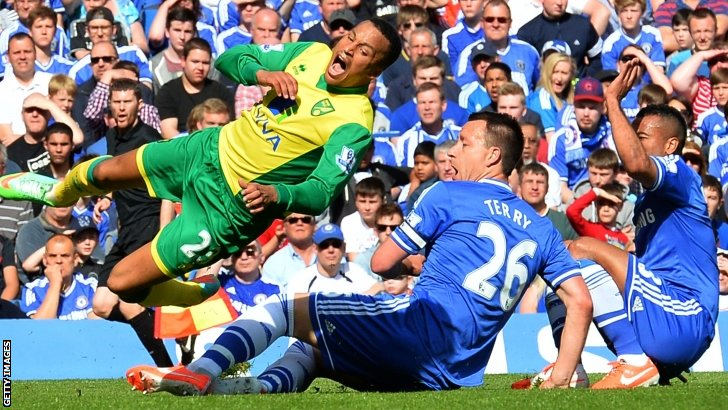 Chelsea duo John Terry and Ashley Cole tackle Norwich City's Martin Olsson