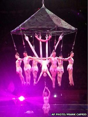 Performers hang during an aerial hair-hanging stunt
