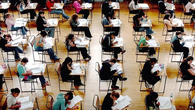 Schoolchildren sitting an exam