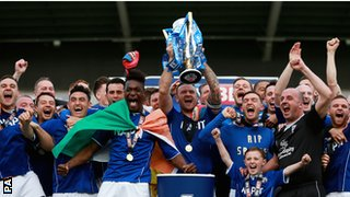 Chesterfield with the League Two trophy