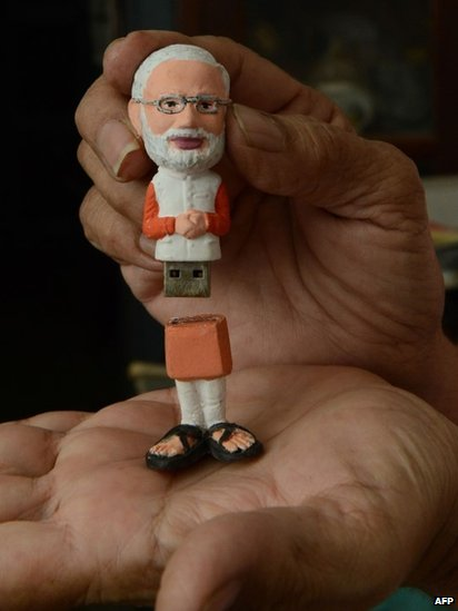 A pen drive in the image of Chief Minister of the western Indian state of Gujarat